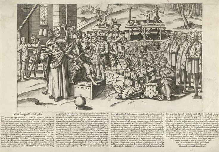 Anonymous | De treurige onderdrukking van de Nederlanden, 1569, Anonymous, 1569 | Allegorie op de tirannie van de hertog van Alva in de Nederlanden, 1569. Links zit de hertog van Alva op zijn troon met Granvelle (met blaasbalg) en de duivel, achter de hertog staan leden van de Bloedraad, waaronder Vargas en Del Rio. Voor Alva knielen geketend de 17 personificaties van de provincies van de Nederlanden, rechts de verstomde leden van de Staten-Generaal. Hierboven vist Margaretha van Parma naar…