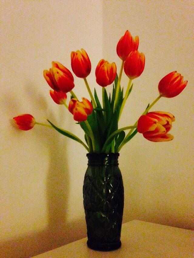 Tulipaner der pynter i den lidt grå tid ;)