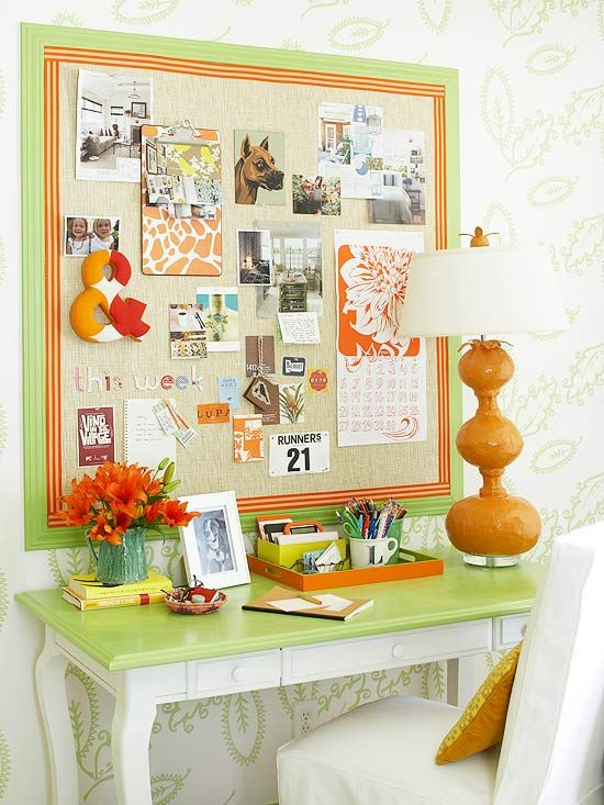 Add personality to an office space with a collection of memorabilia on a bulletin board. More stylish desks: http://www.bhg.com/rooms/home-office/makeovers/stylish-smart-home-offices