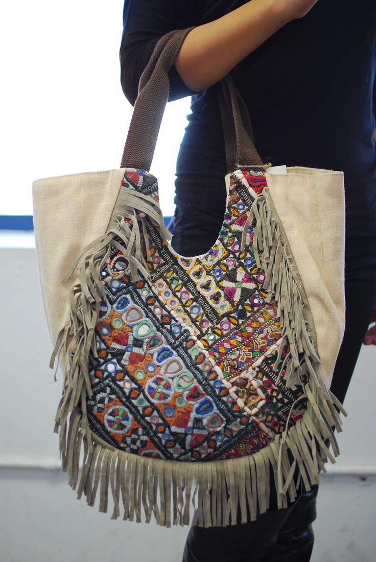 Bohemian Hand Made Embroidery Deco Canvas Suede Fringe Tote Bag