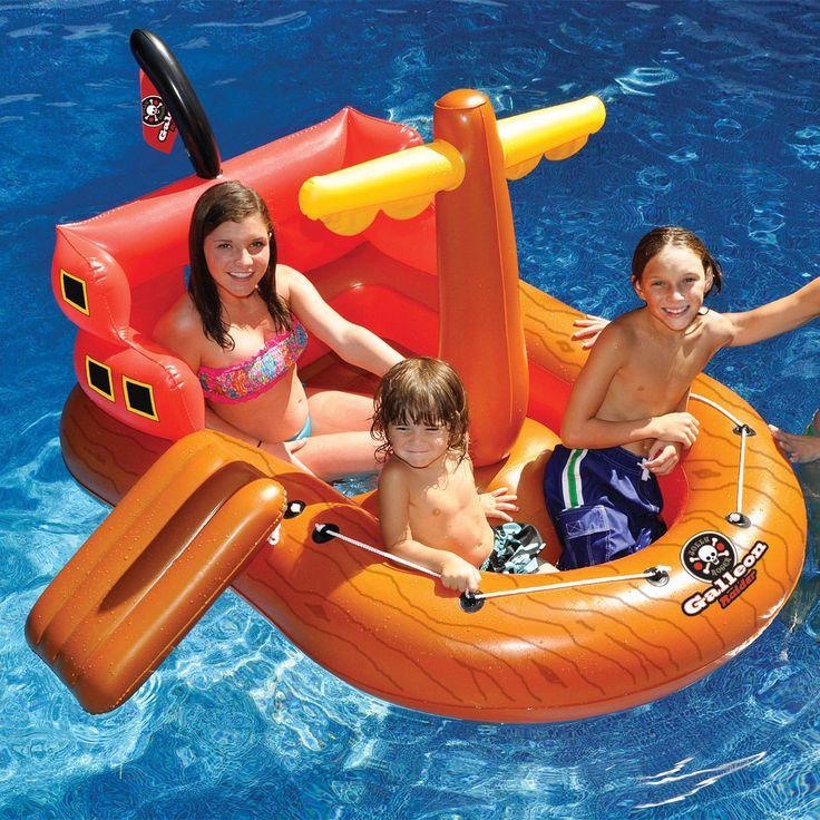 "Inflatable Swimming Kiddie Pool Raider Pirate Ship Float 64"""
