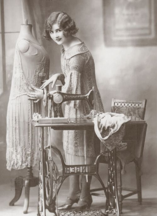 A day spent sewing. A young woman with a sewing machine c. 1925. Most likely an advertisement because photos would not have been wasted on the daily mundane household tasks. Yet I marvel at the beautiful things made with such a simple machine and time.