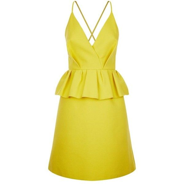 Delpozo Peplum Cami Strap Dress (£1,099) ❤ liked on Polyvore featuring dresses, v-neck camisoles, v neck cocktail dress, holiday party dresses, evening party dresses and cocktail party dress