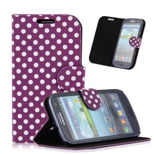 Purple White Polka Dot Leather Wallet Pouch Case Cover for Samsung Galaxy S3 i9300 by Goldream, http://www.amazon.co.uk/dp/B00ISGTU1I/ref=cm_sw_r_pi_dp_lOgJub09JP2VB