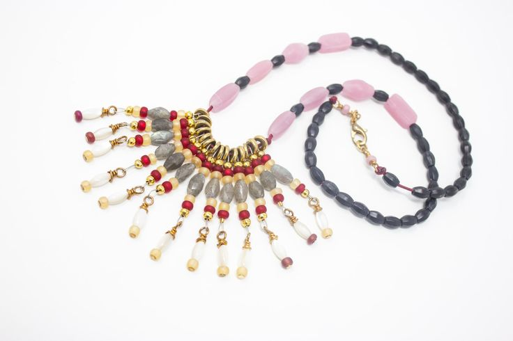 Fringe Necklace with Labradorite and Mother of Pearl, Colorful Jewelry https://www.etsy.com/listing/500328642/tribal-statement-necklace-unique-beaded?utm_campaign=crowdfire&utm_content=crowdfire&utm_medium=social&utm_source=pinterest