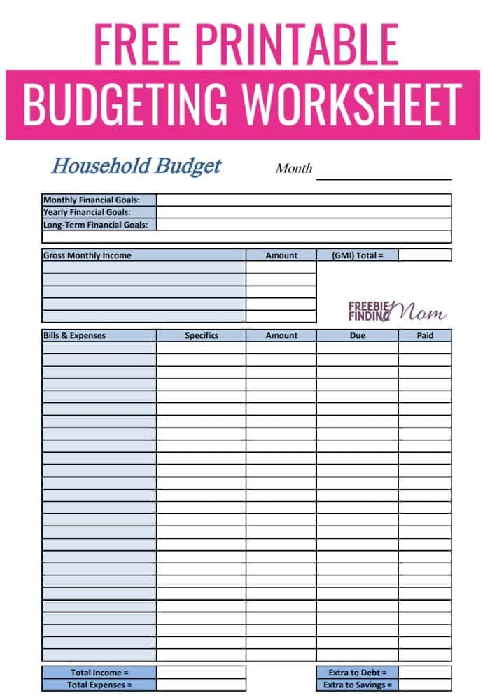 Free Printable Budget Worksheets Download Or Print With Images