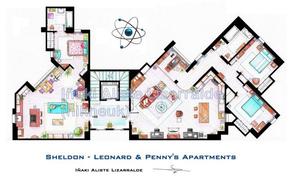 Floorplan of Sheldon-Leonard & Penny's Apartments from TBBT