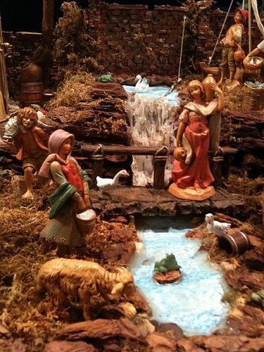 #Fontanini nativity display using natural materials as well as hot glue fun to create a realistic looking waterfall. #BuildingFamilyTraditions