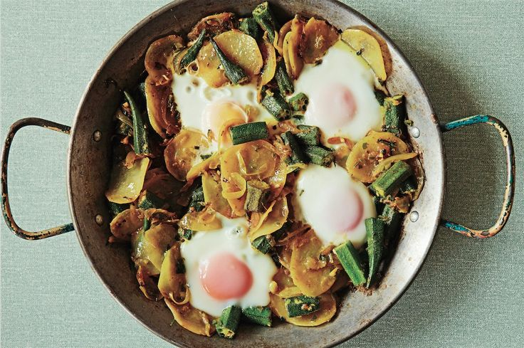Parsee Perfect: Indian Okra And Eggs On Potatoes
