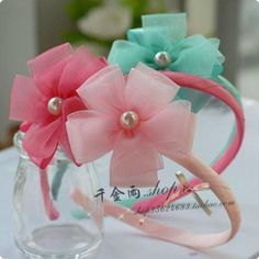 T13 child accessories exquisite three color crystal yarn flower princess hair bands headband hair pin-in Hair Accessories from Apparel & Accessories on Aliexpress.com