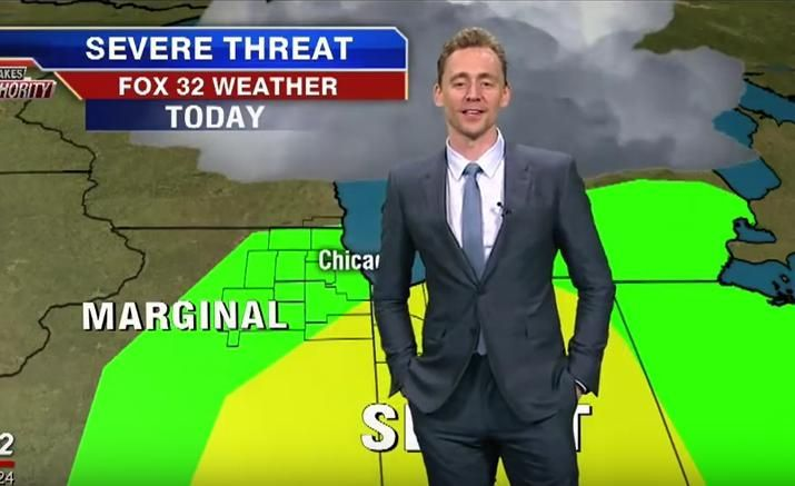 "Tom Hiddleston is currently starring as country-music legend Hank Williams in I Saw the Light, but yesterday he reprised an earlier role of his to give the weather report on a local Chicago news station. (Watch it above.) Regular weatherman Mike Caplan introduced ""Loki"" to give the details on some impending"