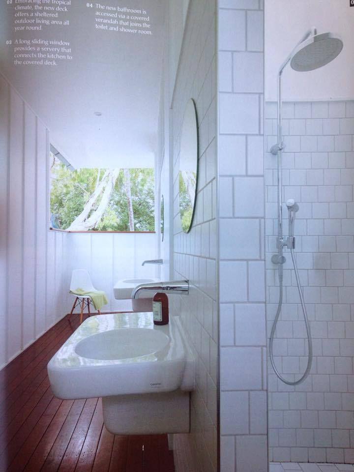 Subway tile / shower rail
