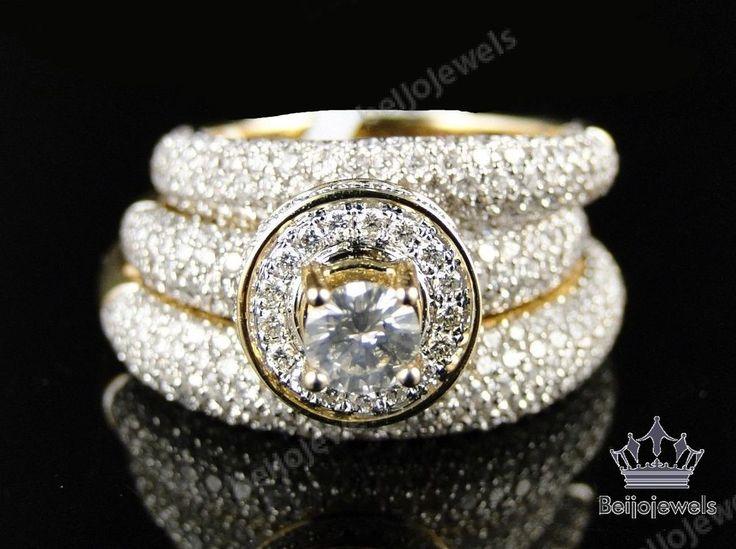 14K Mens/Ladies Round Cut Pave Set Diamond Bridal Engagement Ring Trio Set  #beijojewels