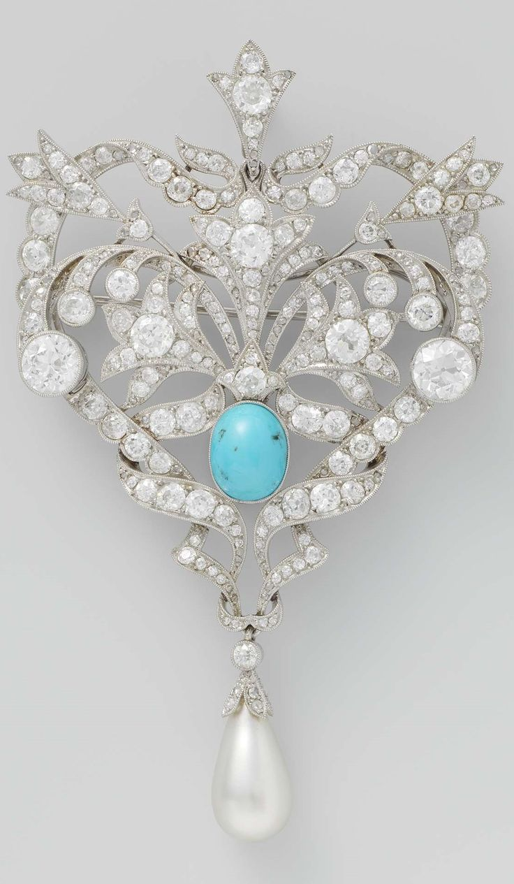 A Belle Epoque platinum, diamond, turquoise and pearl brooch, French, 1880-1910. With foliate and ribbon motifs set with diamonds, centring upon an oval cabochon turquoise, suspending a pearl drop. 9.7 cm × w 6.0 cm. #BelleÉpoque #brooch