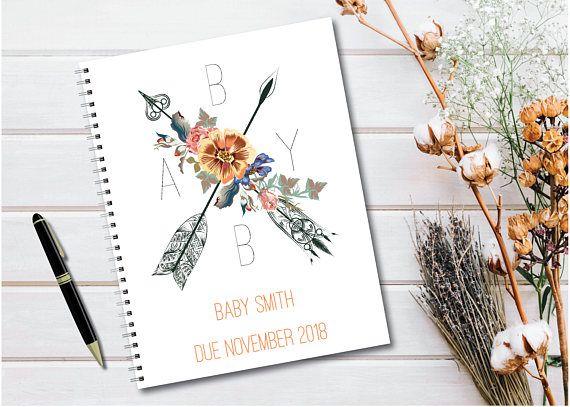 Journal de grossesse personnalisé avec pages planifiées Boho Chic Floral, j'adore ce p …  – Mummy