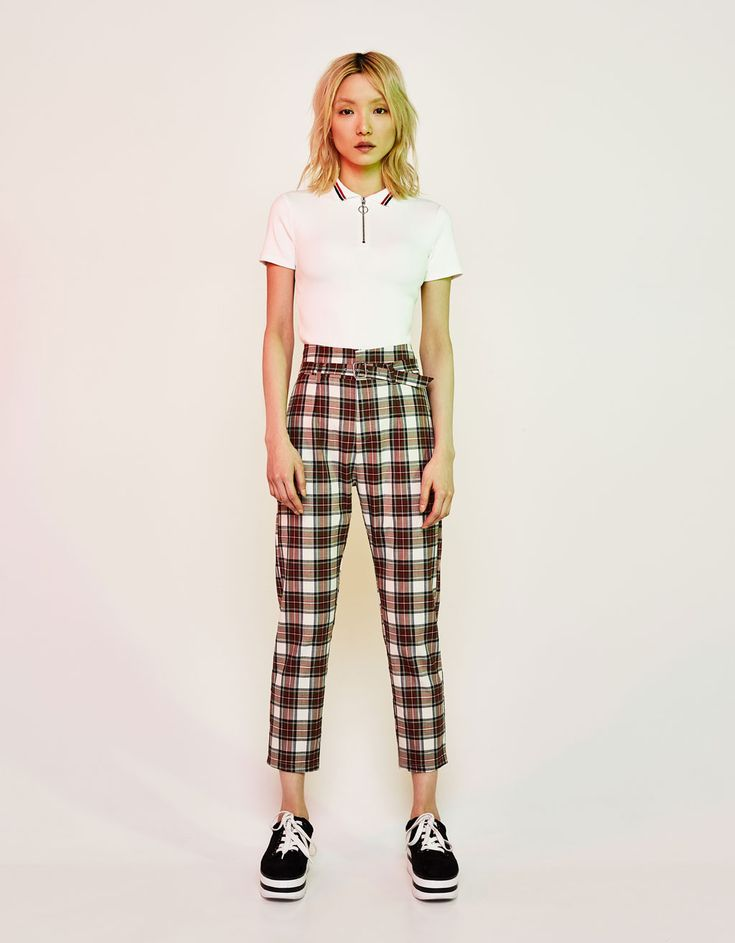 Slim fit trousers with belt