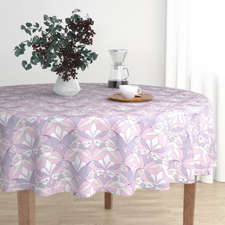 Interwoven XX_Orchid on Malay by mia_valdez | Roostery Home Decor #InterwovenXX #Woman #Girls #Cubism #summertime #Ladies #girly #Sisterhood #Lis #Flower #orchid #lilac #pink #Mia #Malay #Round #tablecloth #roosteryhome   @Roosteryhome