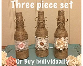 Twine bottles Floral Twine Bottles Home Decor by prettyandchicshop