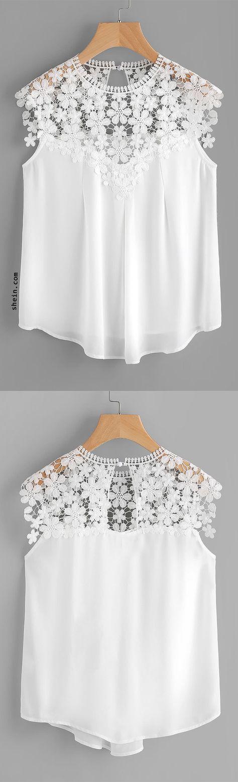 Keyhole Back Daisy Lace Shoulder Shell Top.. para transformar una blusa de asillas en caso de no soler llevarlas.
