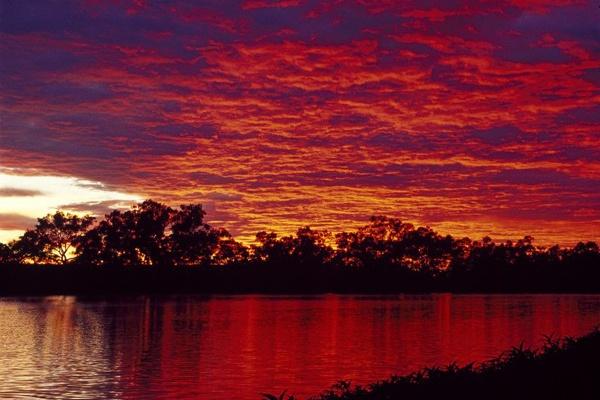 RED Sunset over Cullyamurra Waterhole, Flinders Ranges
