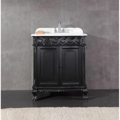 Ove Decors Trent 30 in. Vanity in Black Antique with Cultured Marble Vanity Top in White-Trent 30 at The Home Depot