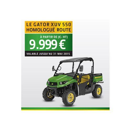 JOHN DEERE SAS : Découvrez chez votre concessionnaire la Promo sur le véhicule utilitaire tout terrain Gator XUV 550 homologué route à partir de 9 999 € ht jusqu'au 31 mai 2015