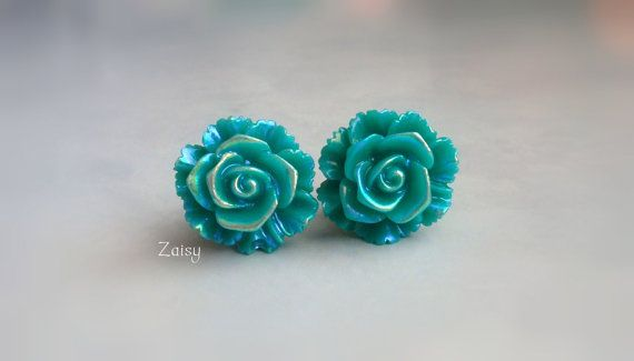 Mermaid Flower Plugs Shimmery Teal for Gauged Ears Sizes by Zaisy