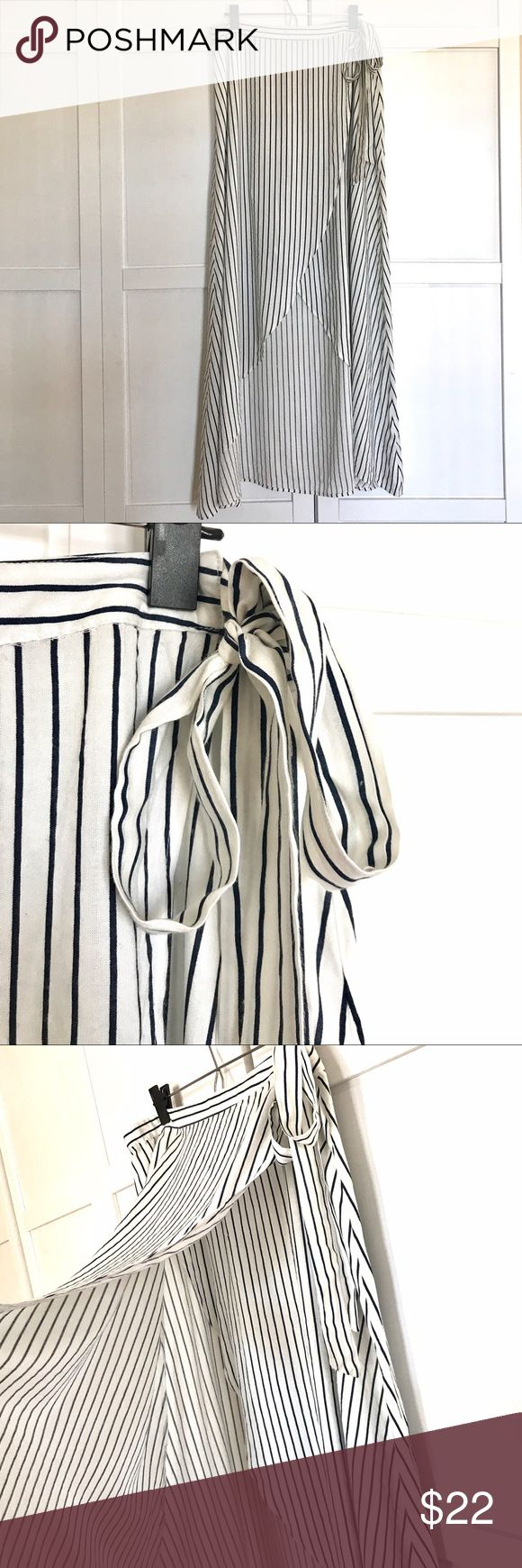 New Look Hi Low Stripe Tie Waist Skirt Fresh and stylish skirt just in time for warmer weather - cream and blue stripes - adjustable tie at the waist - hi low - size 12 - worn once - perfect condition - made by New Look - purchased from ASOS New Look Skirts High Low