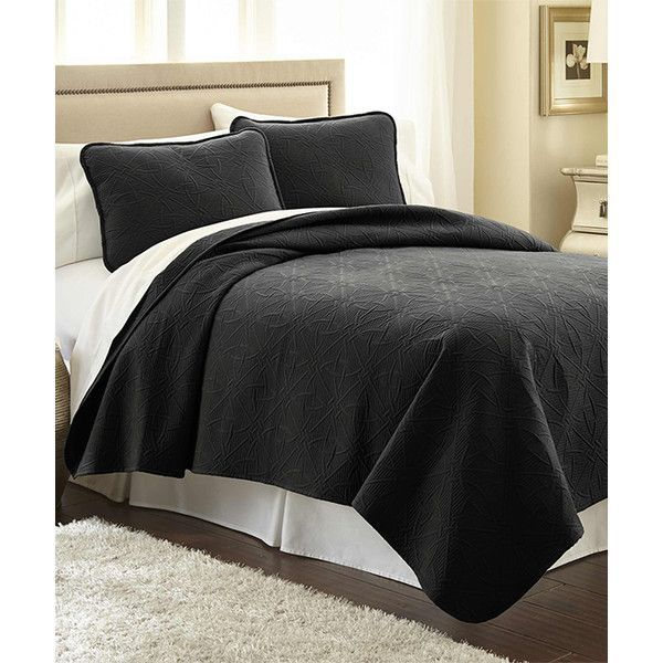 Southshore Fine Linens Black Modern Quilt Set ($38) ❤ liked on Polyvore featuring home, bed & bath, bedding, quilts, modern bed linen, black modern bedding, modern quilt set, linen shams and linen bedding #ModernBedLinen