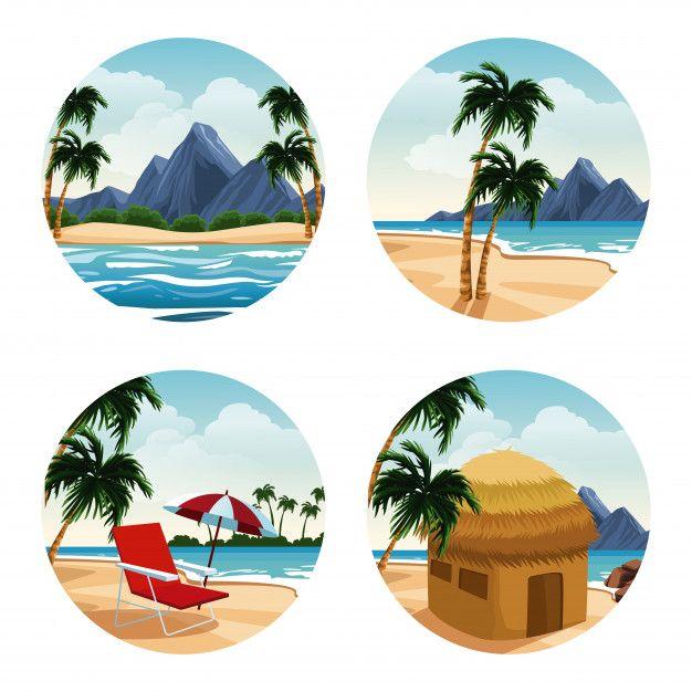 Dibujos Animados De Islas Aisladas En Iconos Redondos Vector Premium Dibujos Dibujos De Islas Dibujos Animados