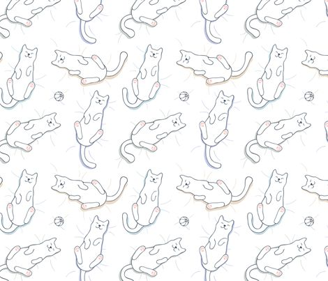 Happy Lazy Sleepy Cats fabric by nossisel on Spoonflower - custom fabric