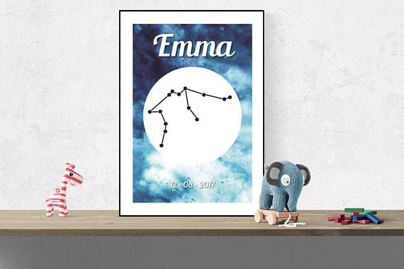 Custom Aquarius wall art Zodiac constellation name print