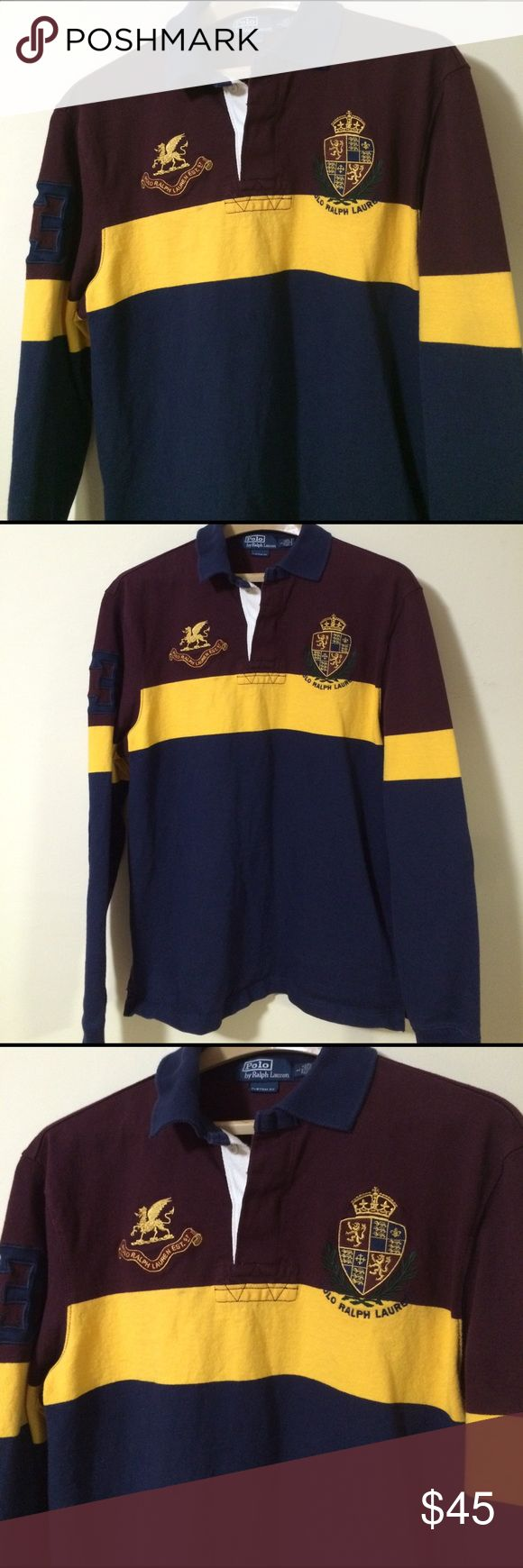 Polo Ralph Lauren Official Rugby Team polo! In excellent, like new condition. Authentic Polo Rugby team shirt. Polo collectors item. #3 stitched patch on the sleeve. Great condition! Maroon, gold and navy colors. Polo by Ralph Lauren Shirts