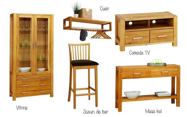 Gama SILKEBORG din lemn de stejar tratat cu ulei include piese pentru dormitor, camera de zi, hol și dining.