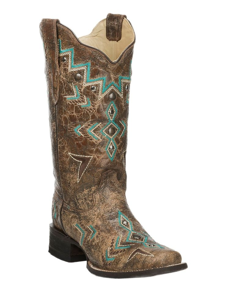 Corral Women's Bronze with Turquoise Aztec Embroidery Square Toe Western Boot   Cavender's