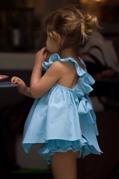 #blue dress + brown haired baby