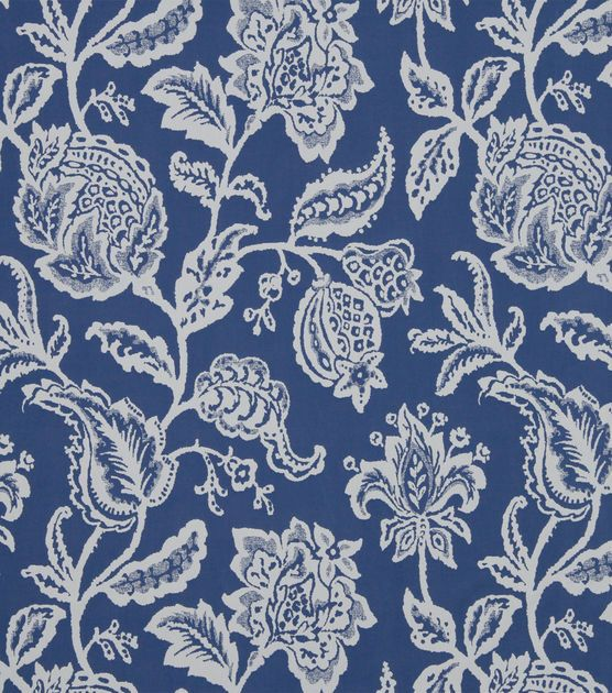 $22.49/yd - JoAnn Fabrics - Upholstery Fabric-Robert Allen Jacobean Toss Indigo