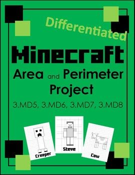 This Minecraft inspired project will engage students as they practice finding the area and perimeter of various squares and rectangles.  This differentiated set makes it easy to ensure that every student is successful and challenged!