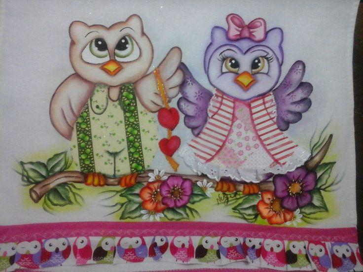 Pano de prato casal de coruja coração | Nuza Artes | Elo7