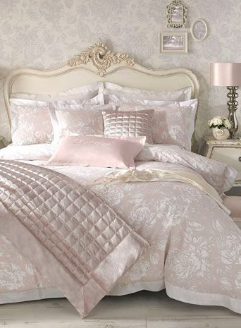 Holly Willoughby Elizabeth Bedding. Holly Willoughby for the home. Only at BHS. Pretty design, soft pink, 100% cotton bed linen. Dream and relax cushions, velvet squares cushion and bedspread only at Bhs