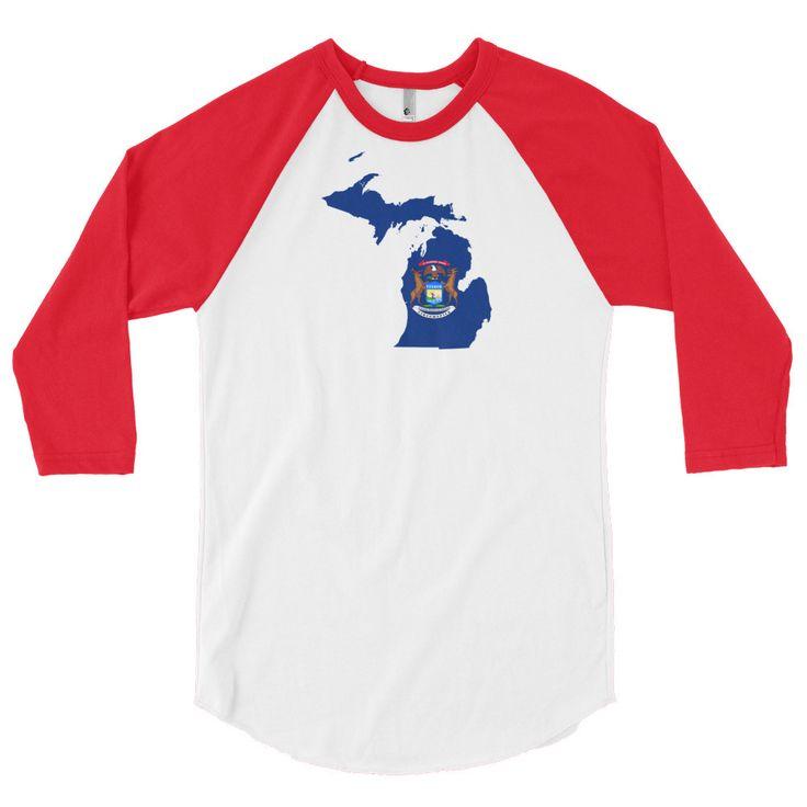 Michigan Flag 3/4 Sleeve Raglan Shirt