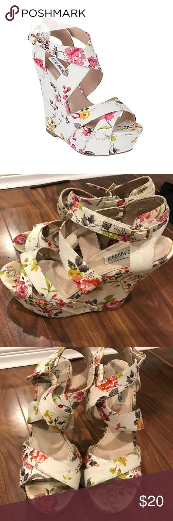 Steve Madden Wildd Wedges A beautiful floral wedge! Great for spring and summer! In pretty good condition, only worn about 4-5 times because they are too high for me. Steve Madden Shoes Wedges
