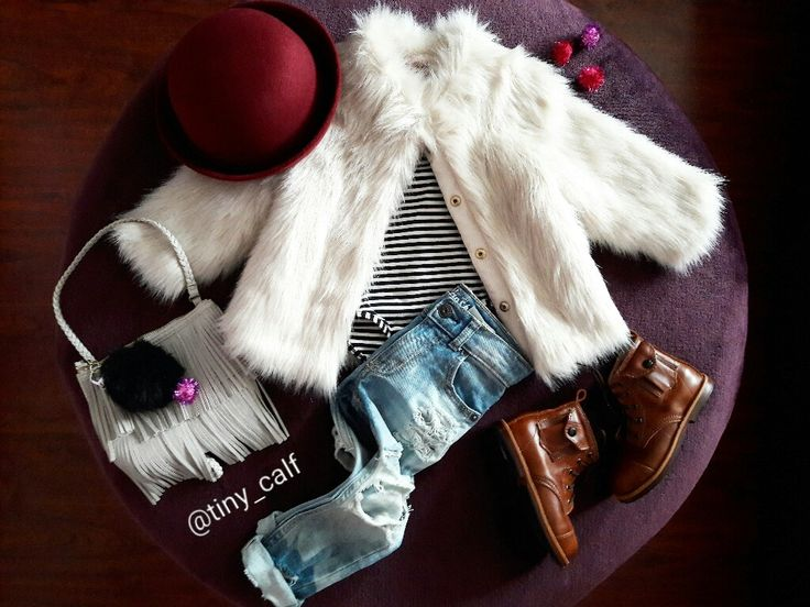 Baby/ toddler winter fashion outfits. Baby/ toddler fall fashion outfits. Target burgundy/ wine bowler hat. Mikoleon kids leather boots. Distressed jeans. H&M fringe  bag. Faux fur coat. Dr. Martens. Doc Martens. Docs. Hipster baby. Boho. Grunge. 90s.