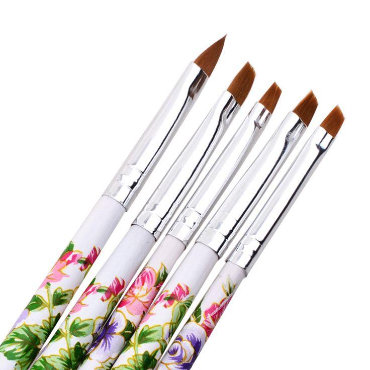 2017 New arrival 5pcs UV Gel Acrylic Nail Art Brush Painting Dotting Pen Set Cosmetics Nails Manicure Makeup tools Maquiagem