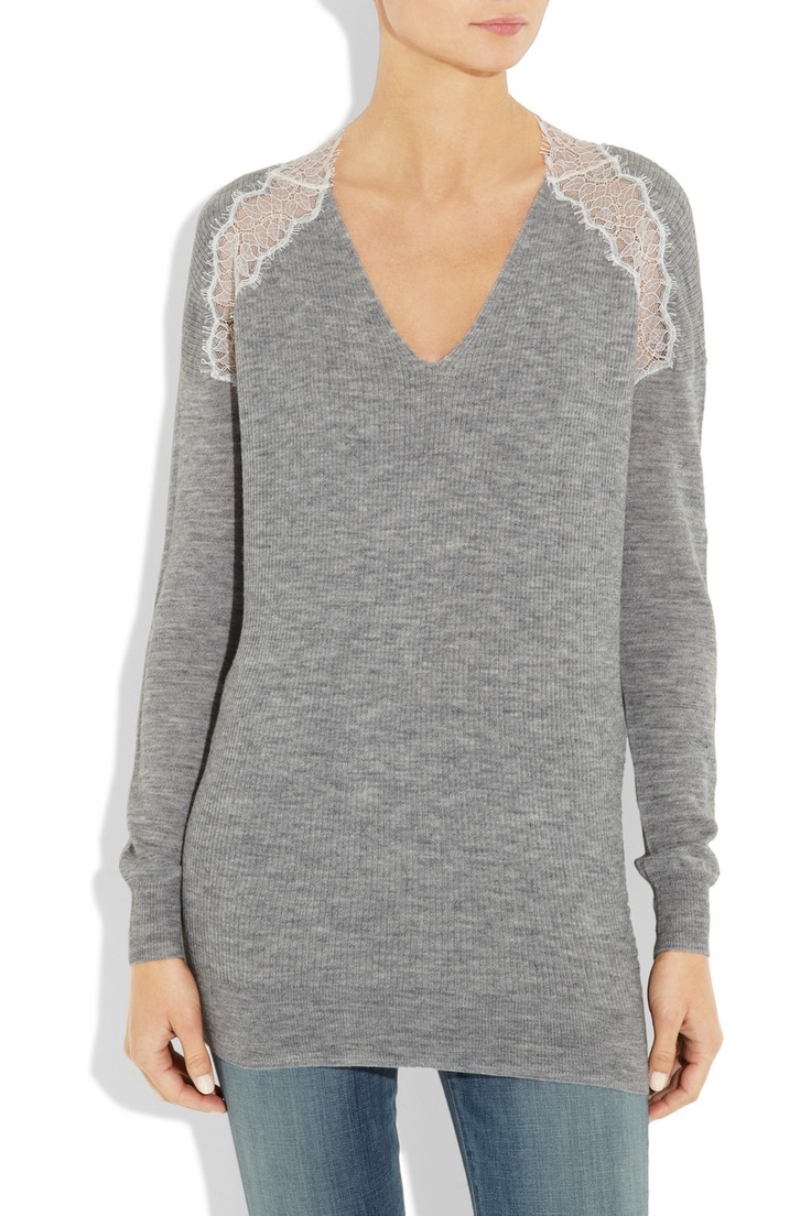 Lace-trimmed knitted sweater: Taylors Lace Trim, Rebecca Taylors, Lace Trim Knits, Sweaters 275, Knits Sweaters