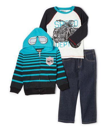 Blue & Black Motorcycle Pullover Set - Toddler by BOYZ WEAR #zulily #zulilyfinds