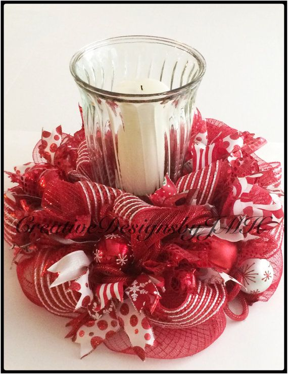 Christmas Deco Mesh Centerpiece/Wreath by CreativeDesignsJMH