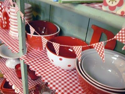 Red And White Tablecloth   Contact Paper Or Material Or Vinyl Tablecloth  Cut To Match Shelves