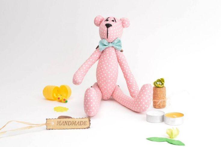 handmade, худой розовый мишка в белый горошек