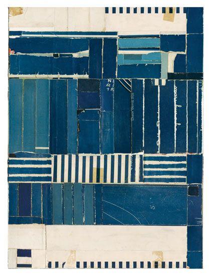 """Lisa Hochstein Adrift •  9"""" x 12"""" Salvaged Paper."""